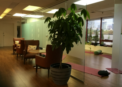 OCTCM - Ontario College of Traditional Chinese Medicine waiting area with view into studio - PlayfulLoving